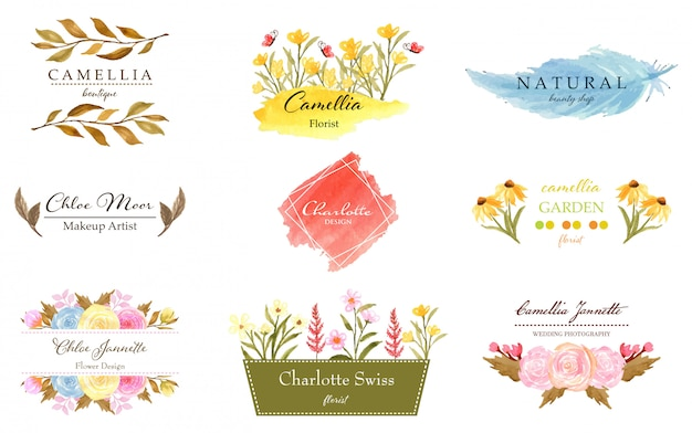 Collection de logo floral premade