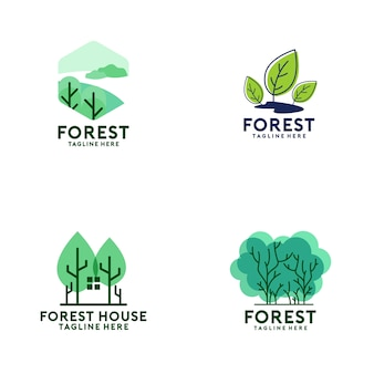 Collection de logo de forêt