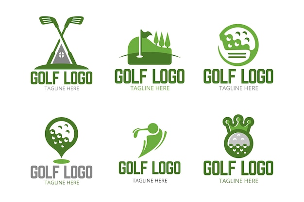 Collection de logo de golf au design plat