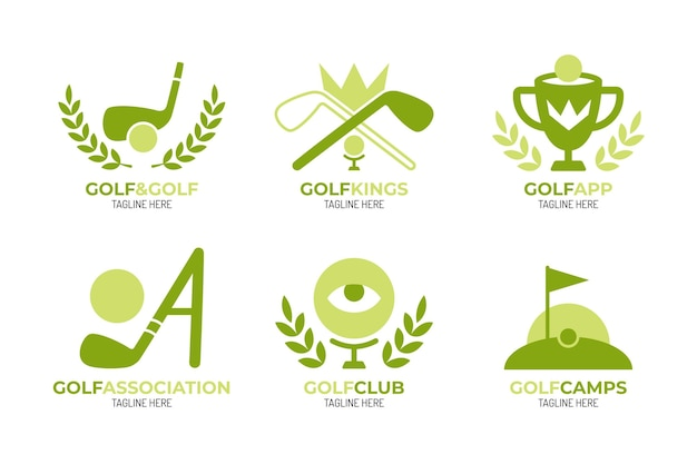 Collection De Logo De Golf Plat Vecteur gratuit