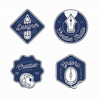Collection De Logo De Graphiste Plat Vecteur Premium