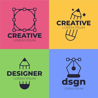Collection de logo de graphiste plat