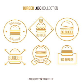 Collection de logo d'hamburger jaune et blanc
