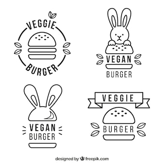 Collection de logo de hamburger végétalien