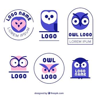 Collection de logo de hibou bleu
