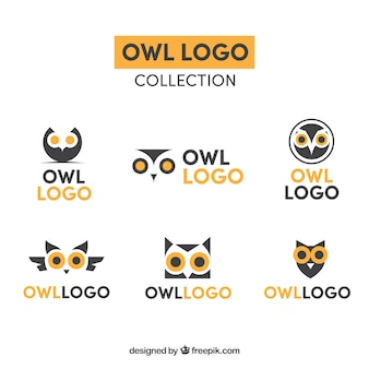Collection de logo hibou jaune et bleu