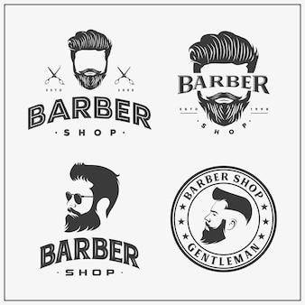 Collection de logo et d'icône de magasin de coiffeur