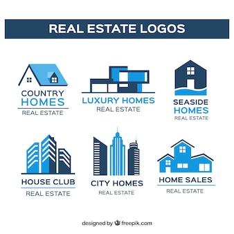 Collection de logo immobilier au design plat