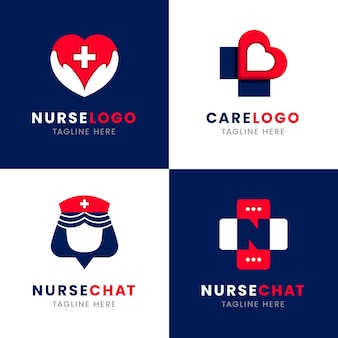 Collection de logo d'infirmière design plat