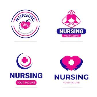 Collection de logo d'infirmière plate