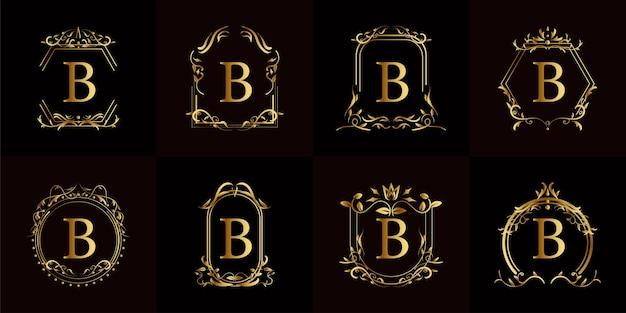 Collection de logo initial b avec ornement de luxe ou cadre de fleur