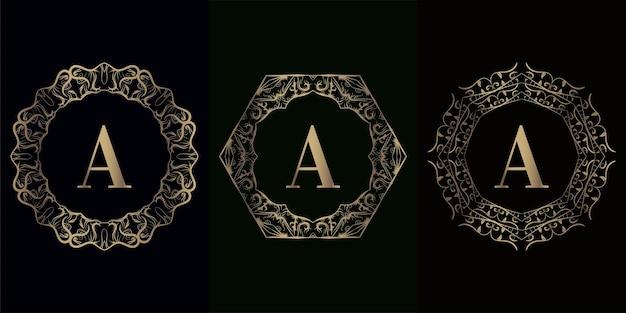 Collection de logo initial a avec cadre d'ornement de mandala de luxe