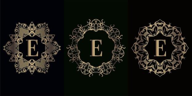 Collection de logo initial e avec cadre d'ornement mandala de luxe