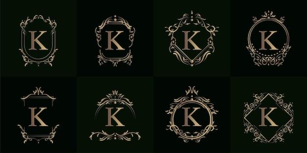 Collection de logo initial avec ornement de luxe ou cadre de fleur