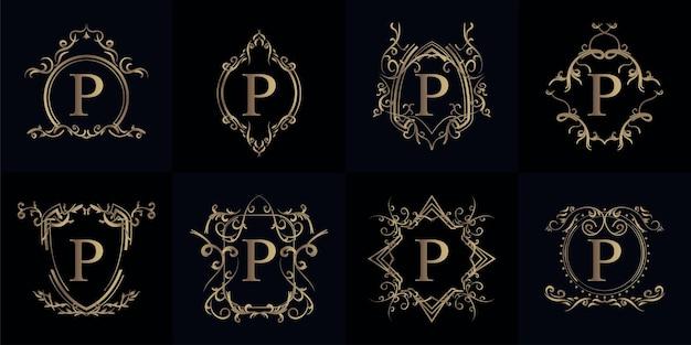 Collection de logo initial p avec ornement de luxe
