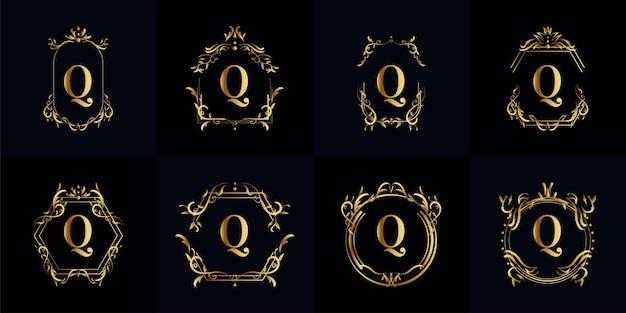 Collection de logo initial q avec ornement de luxe ou cadre de fleur