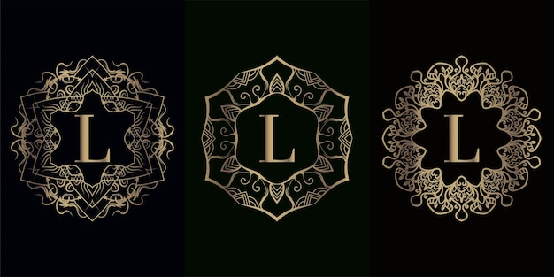 Collection de logo initiale l avec cadre d'ornement mandala de luxe
