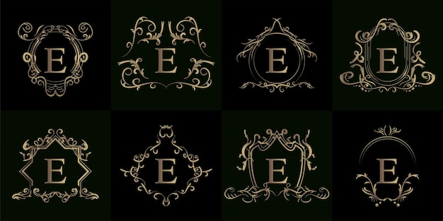 Collection de logo initiale e avec ornement de luxe ou cadre de fleur