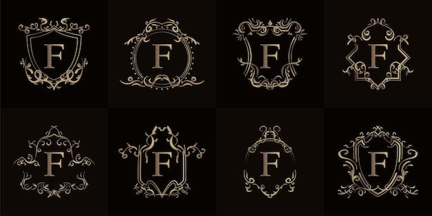 Collection de logo initiale f avec cadre d'ornement de luxe