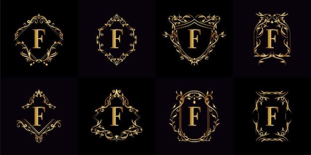 Collection De Logo Initiale F Avec Ornement De Luxe Vecteur Premium