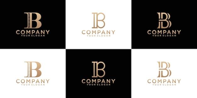 Collection de logo d'initiales de lettre b avec la couleur d'or