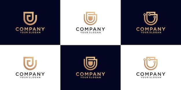 Collection de logo d'initiales de lettre u avec la couleur d'or