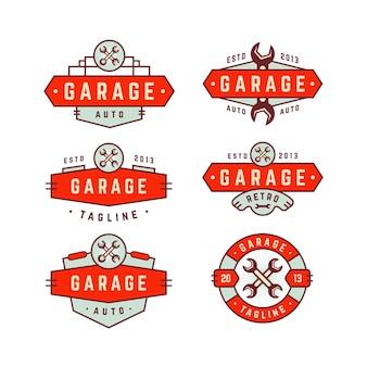 Collection de logo d'insigne de garage rétro vintage