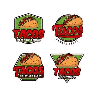 Collection de logo d'insigne de nourriture tacos