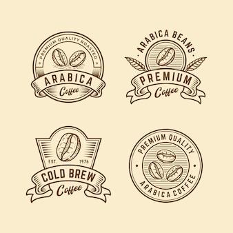 Collection de logo d'insigne rétro vintage café