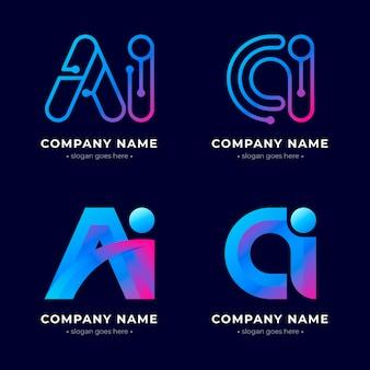 Collection de logo d'intelligence artificielle dégradé