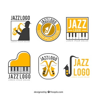 Collection de logo jazz avec un design plat