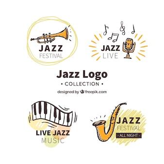 Collection de logo jazz avec style dessiné à la main