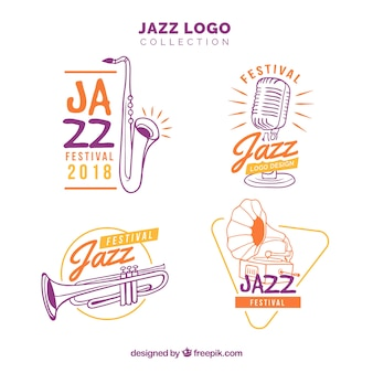 Collection de logo jazz avec style dessiné à la main