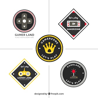 Collection de logo de jeu avec un design plat