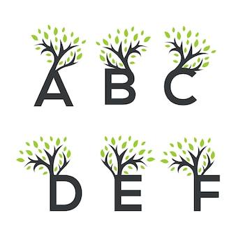 Collection de logo de lettre d'arbre vectoriel