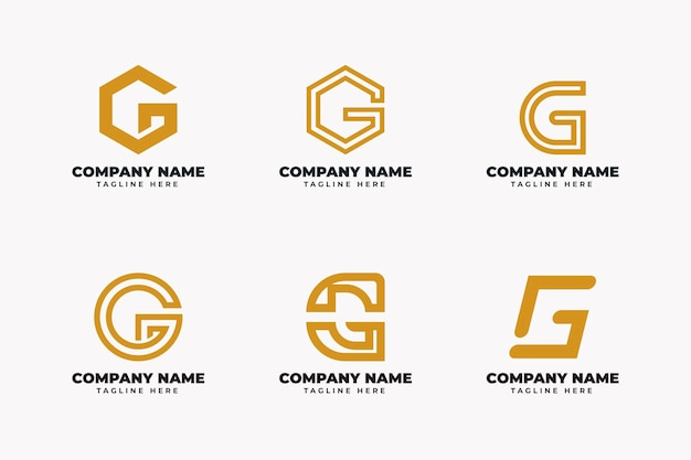 Collection de logo lettre g design plat