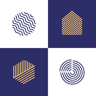 Collection de logo linéaire de style abstrait