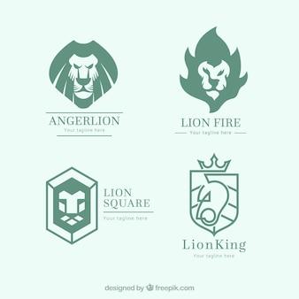 Collection de logo lion avec style abstrait