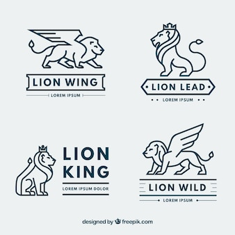 Collection de logo lion avec style moderne