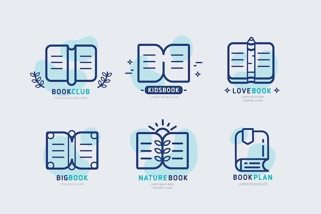 Collection de logo de livre design plat