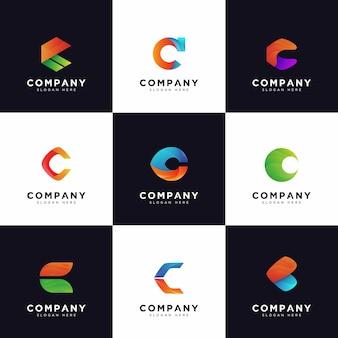 Collection de logo c, logos de lettre majuscule c de société gradient