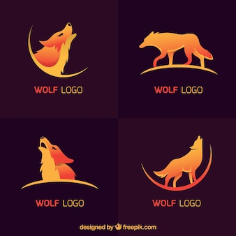 Collection de logo de loup moderne