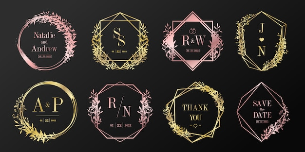 Collection de logo de luxe monogramme de mariage. cadre floral pour le logo de marque et la conception de cartes d'invitation.