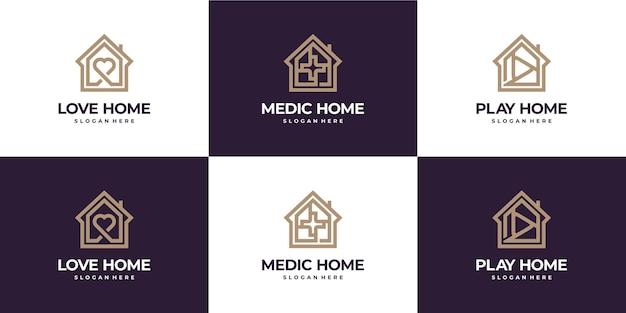 Collection de logo de luxe monoline à la maison