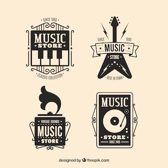 Collection de logo de magasin de musique avec un design plat