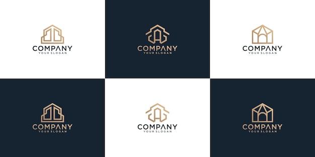 Collection de logo de maison abstraite minimaliste