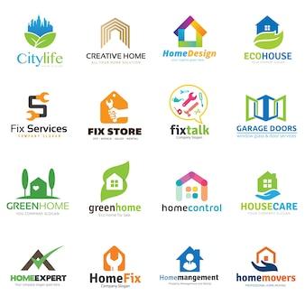 Collection de logo maison et immobilier.