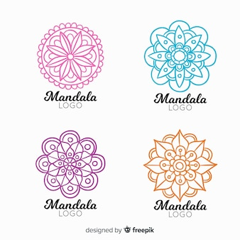 Collection de logo mandala dessiné à la main