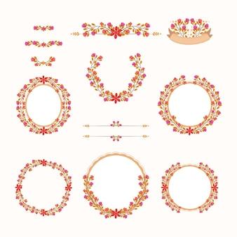 Collection de logo de mariage floral mignon
