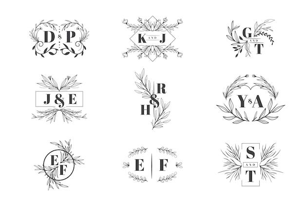Collection de logo de mariage floral